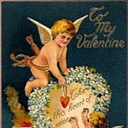 REDUCED Vintage Post Card Valentine Greetings Cupids with Hearts