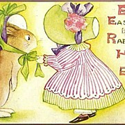 REDUCED Vintage Post Card Easter Greetings Girl and Rabbit in Easter Hats