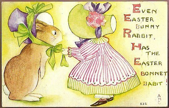Vintage Post Card Easter Greetings Girl and Rabbit in Easter Hats
