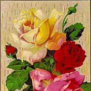 REDUCED Vintage Post Card Greetings Red, Pink and Yellow Roses