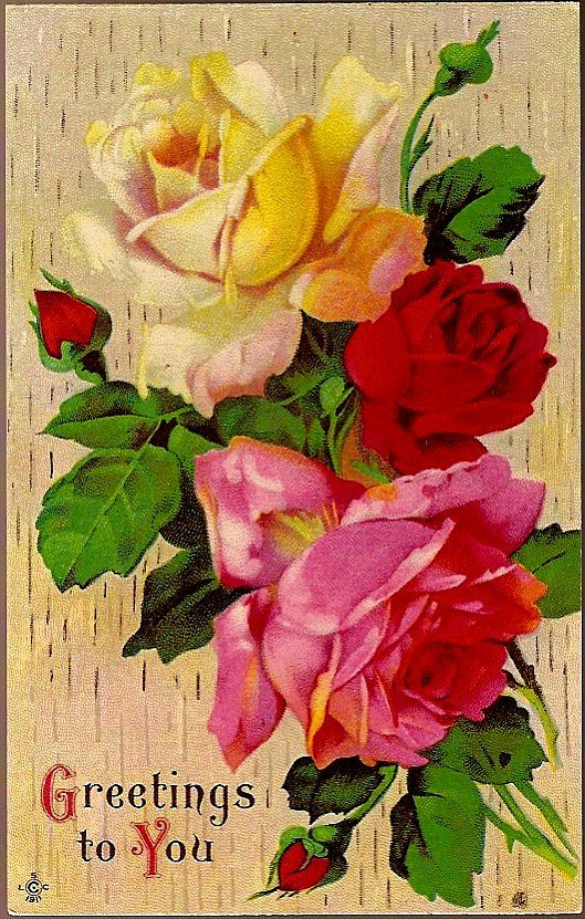Vintage Post Card Greetings Red, Pink and Yellow Roses
