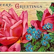 Vintage Post Card Greetings Pink Roses and Blue Forget-me-nots