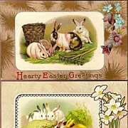 Vintage Post Cards Easter Greetings Rabbits with Rake, Baskets, Flowers and Eggs