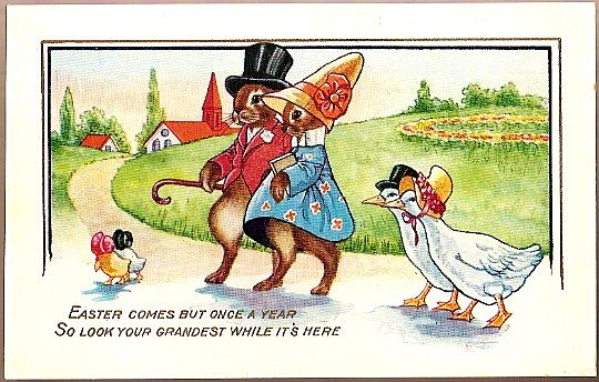 Vintage Post Card Easter Greetings Dressed Rabbits and Ducks