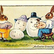 Vintage Post Card Easter Greetings Dressed Rabbit Artists