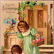 Vintage Post Card Birthday Greetings Two Girls Picking Flowers