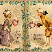 REDUCED Vintage Post Cards (2) Valentine Greetings Colonial Couple with Doves