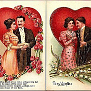 REDUCED Vintage Post Cards Valentine Greetings Edwardian Couples, Hearts  and Flowers (2)