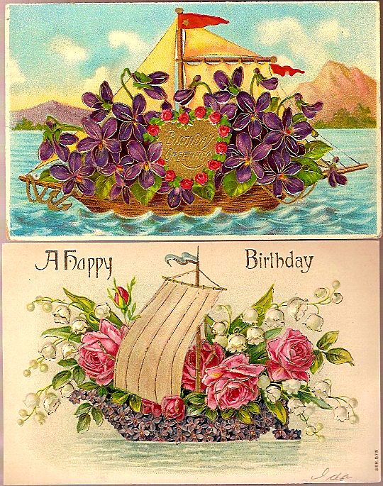 Vintage Post Cards Birthday Greetings Ships with Flowers (2)