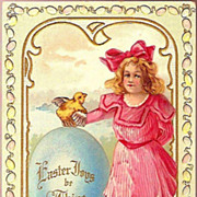 Vintage Post Card Easter Greetings Girl with Chick and Rabbit