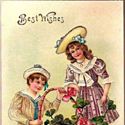 Vintage Post Card Greetings Edwardian Boy and Girl with Shamrocks