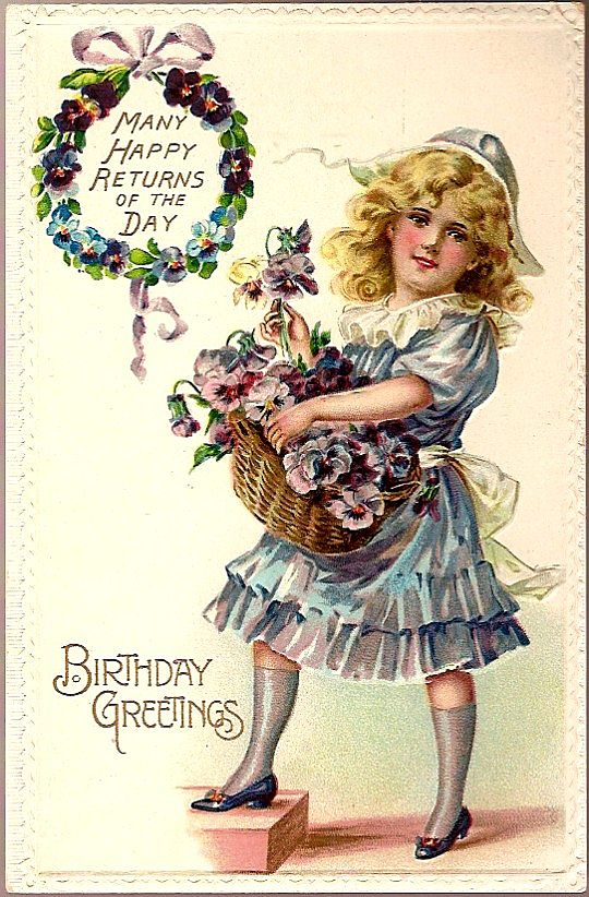 Vintage Post Card Birthday Greetings Girl with Pansies