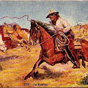 Vintage Post Card Western Art Cowboy with Horses and Lasso