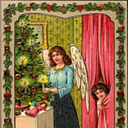 Vintage Post Card Christmas Greetings Angel with Girl and Feather Tree
