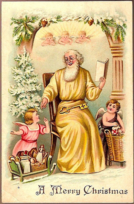 Vintage Post Card Christmas Greetings Santa in Yellow with Cherubs