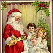 REDUCED Vintage Post Card Christmas Greetings Santa in Red with Girls