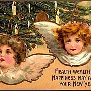 Vintage Post Card New Year Greetings Angels with Candle-lit Tree