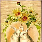 REDUCED Vintage Post Card Easter Greetings Rabbits with Yellow Daisies