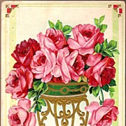 Vintage Post Card Greetings Red and Pink Roses in Flower Stand