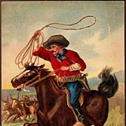 Vintage Post Card Western Art Cowboy on Horse with Lasso
