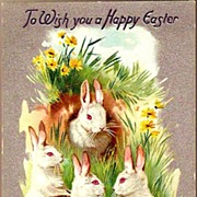 Vintage Post Card Tucks Easter Greetings White Rabbits in Burrow