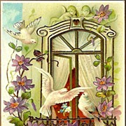 Vintage Post Card Birthday Greetings Doves, Cherubs and Clematis Vines