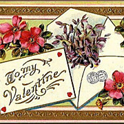 Vintage Post Card Valentine Greetings Pink Wild Roses and Violets