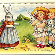 Vintage Post Card Easter Greetings Dressed Rabbit with Children