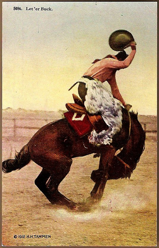 Vintage Post Card Artist Signed Western Photo Print Cowboy on Bucking Horse
