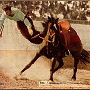 REDUCED Vintage Post Card Artist Signed Western Photo Print Cowboy Bucked Off Horse