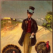 Vintage Post Card Patriotic Thanksgiving Greetings Abraham Lincoln with Turkey's