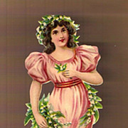 REDUCED Vintage Victorian Die-Cut Scrap Grecian Dark Haired Lady