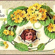 Vintage Post Card Greetings Girl and Yellow Flowers