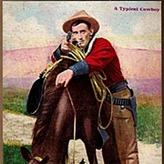 Vintage Post Card Western Cowboy with Pistol and Horse