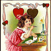 Vintage Post Card Valentine Greetings Girl in Pink at Desk