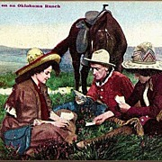 Vintage Post Card Western Cowboy with Cowgirls and Horse