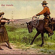 Vintage Post Card Western Cowboy on Horse with Cowgirls