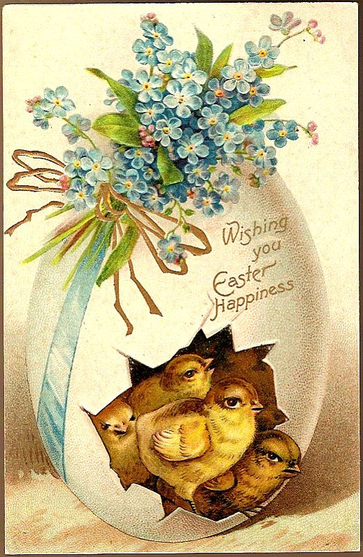 Vintage Post Card Easter Greetings Chicks with Decorated Egg