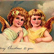 Vintage Post Card PFB Christmas Greetings Angels in Clouds