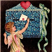 REDUCED Vintage Post Card PFB Valentine Greetings Cupid with Flower Mailbox