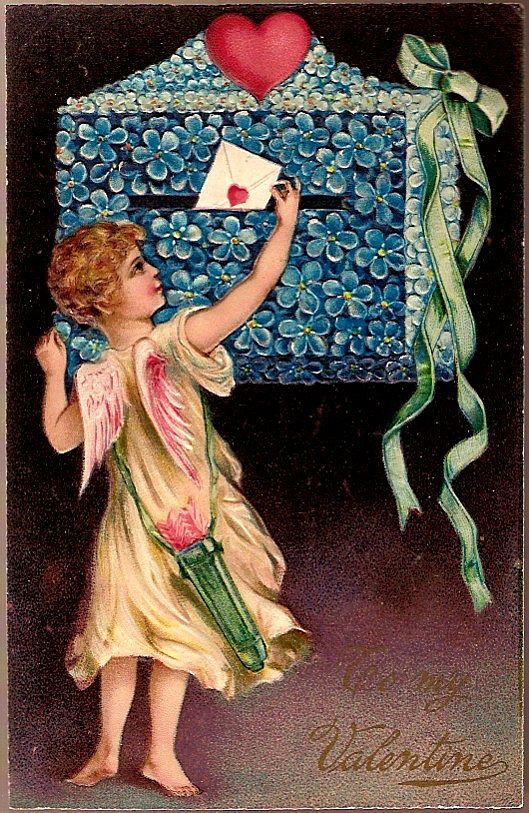 Vintage Post Card PFB Valentine Greetings Cupid with Flower Mailbox