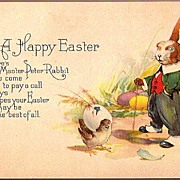 REDUCED Vintage Post Card Easter Greetings Peter Rabbit in Waistcoat with Cane