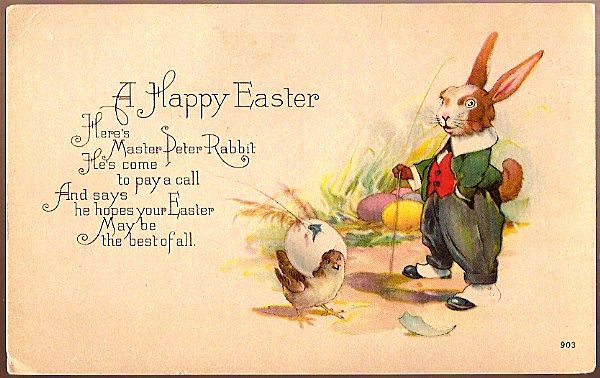 Vintage Post Card Easter Greetings Peter Rabbit in Waistcoat with Cane