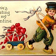 Vintage Post Card Valentine Greetings Dutch Boy with Red Hearts
