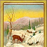 Vintage Post Card New Year Greetings Elk in Snowy Winter Scene