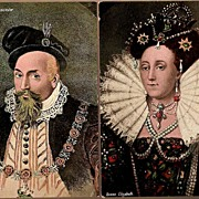 REDUCED Vintage Post Cards Art Royalty Queen Elizabeth and The Earl of Lancaster