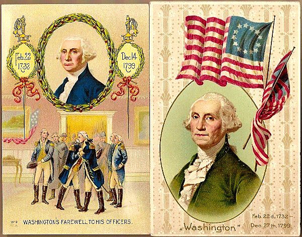 Vintage Post Cards Patriotic George Washington (2)