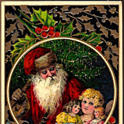 REDUCED Vintage Post Card Christmas Greetings Santa with Girl and Dolls