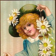 Vintage Post Card Valentine Greetings Girl in Hat with Daisies