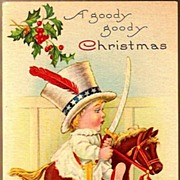 Vintage Post Card Christmas Greetings Baby on Toy Rocking Horse